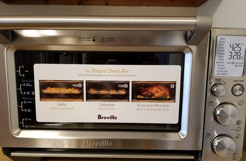 air fryer oven review - breville air fryer with stickers